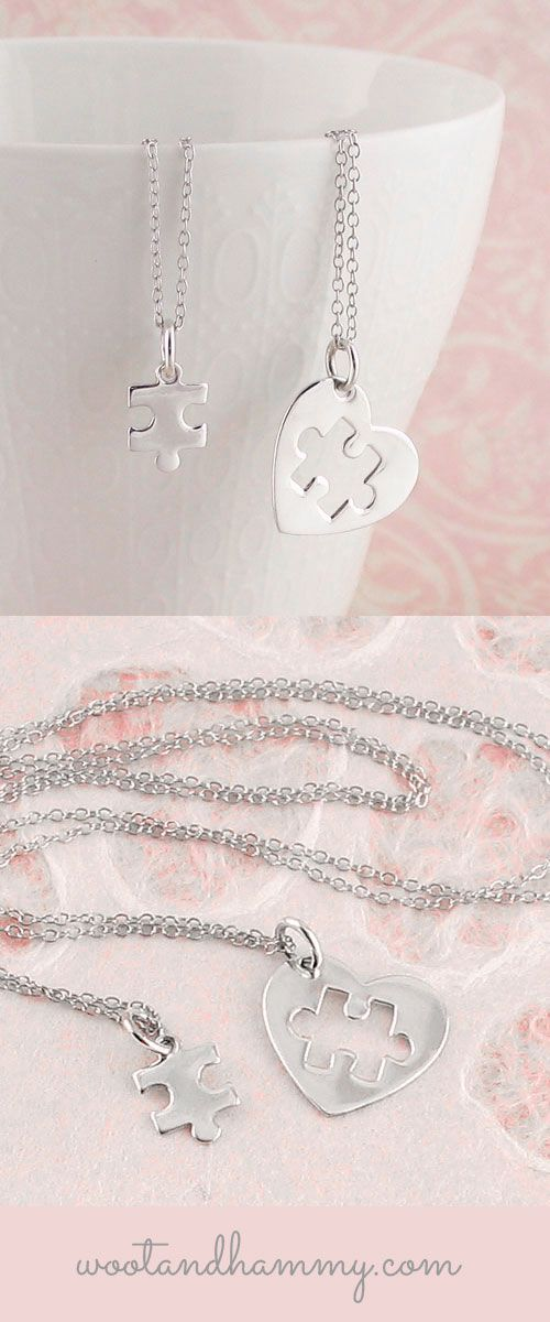 Say 'You complete me' with this heart necklace with a missing puzzle piece.