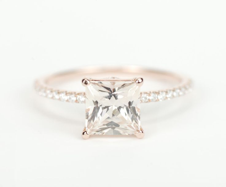 yowza! Certified Peach Champagne Square Princess Sapphire Diamond Engagement Ring 14K Rose Gold. $3,150.00, via Etsy.