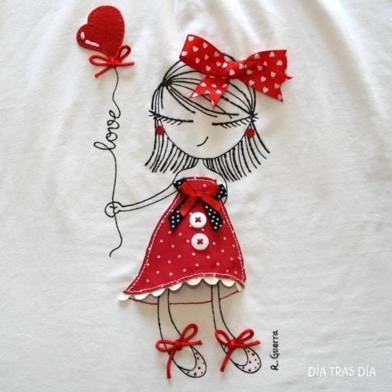 Ro-ro Valentina / Día tras Día - Artesanio Hand Drawn in marker with fabric accents