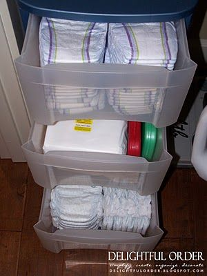 Great way to hide a way diapers and baby cleaning table stuff!