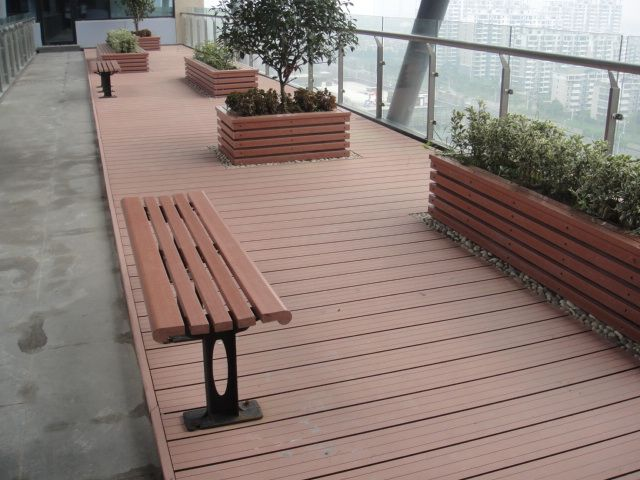 Solid Composite Deck Flat Top Rail Wood Plastic Flooring Afric