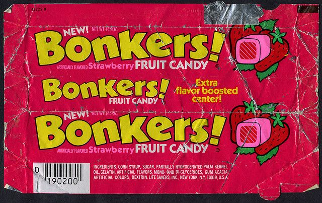 1980S Candy | ... Savers, Inc - Bonkers! strawberry fruit candy package wrapper - 1984