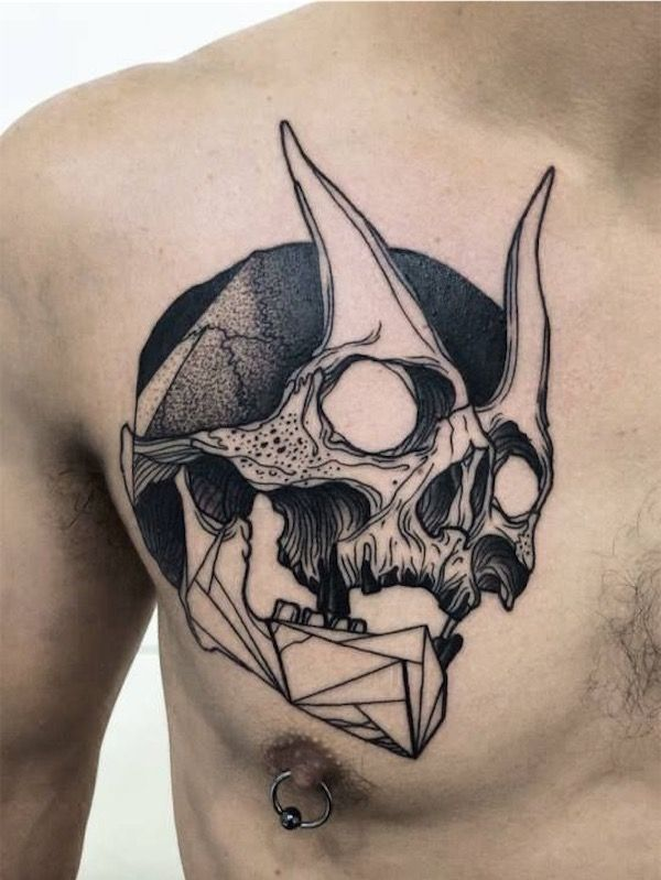 Horned skull chest tattoo #TattooModels #tattoo | Chest ...