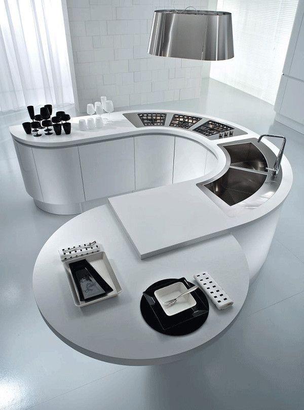 #DreamKitchen Curved Kitchen Design, looks quite sci-fi and minimalist.