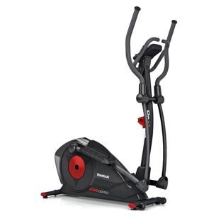 Reebok One GX50 Cross Trainer at Argos -  HR monitor inbuilt for added workout options. Programmable resistance system. Hand grip pulse sensor. 23 user programmes. Number of programmes: manual, time, distance, calories. Console feedback including: single LCD. 32 level tension control. 9kg flywheel. Transportation wheels. 15 inch stride length. Maximum user weight 120kg (18st 13lb). Weight 48.7kg. Manufacturer's 2 year guarantee. Self-assembly. Size H167cm, W64cm, D143cm.