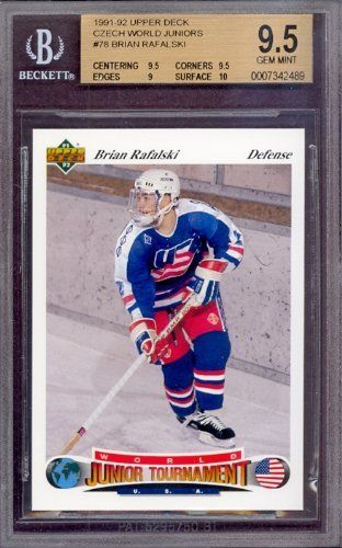1991 Upper Deck Czech World Juniors #78 Brian Rafalski Rookie BGS 9.5 pop 7 by Upper Deck. $35.75. 1991 Upper Deck Czech World Juniors #78 Brian Rafalski Rookie BGS 9.5 pop 7. If multiple items appear in the image, the item you are purchasing is the one described in the title.