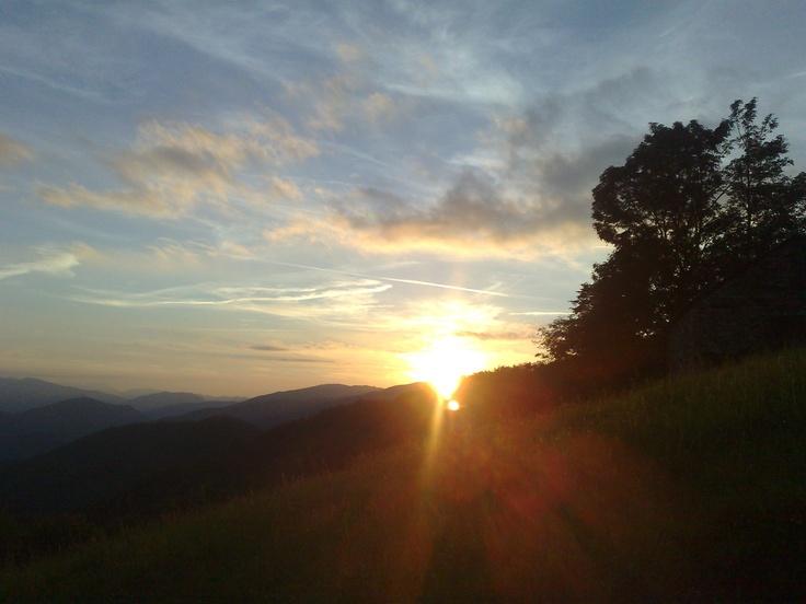 Sunset over the valley Col du Port Massat