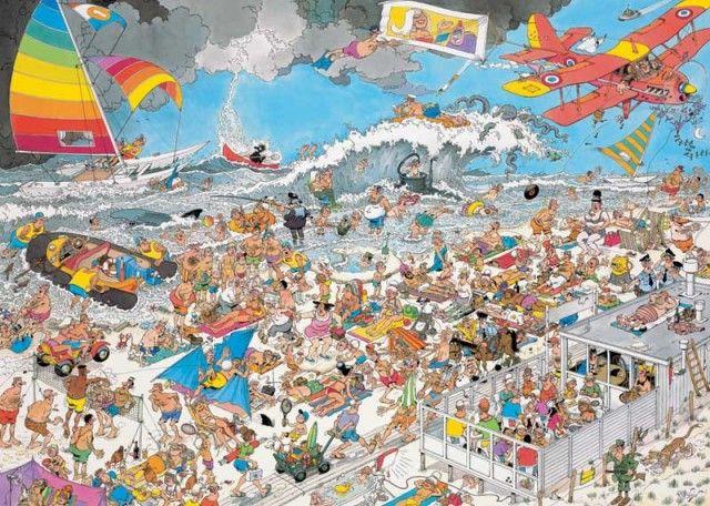 Jan van Haasteren: Op het strand (1000 stukjes)