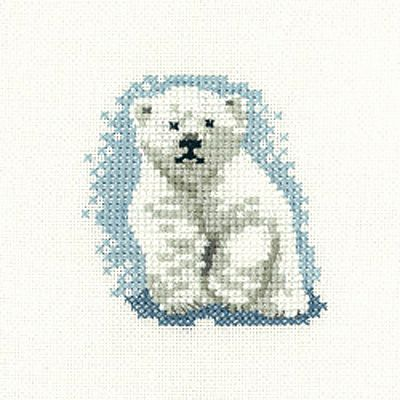 Polar Bear Cub – Little Friends Cross Stitch Kit By Heritage Crafts
