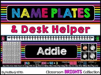 These adorable name plates come from my Classroom BRIGHTS Collection. Not only are they colorful and bright, but they can also be used as a learning resource. My students constantly need access to a number line and number grid during math. So... I included these math tools as well as a few more!