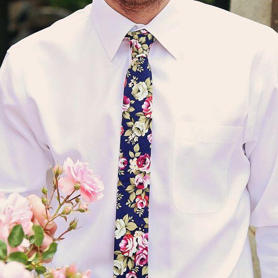 Blue Floral Skinny Tie, Skinny Men's Ties, Cotton Skinny Tie, Men's Floral…
