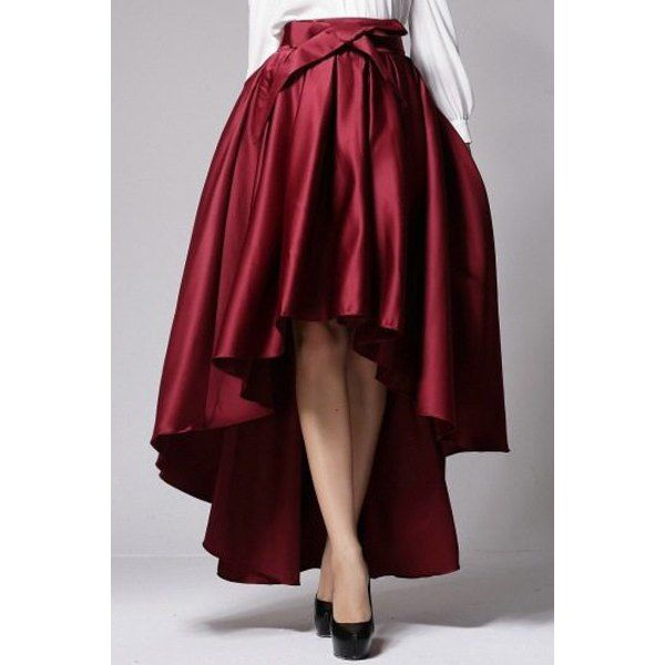 Stylish High-Waisted Bowknot Embellished High-Low Hem Women's Skirt