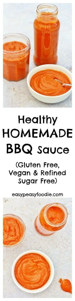 A delicious, healthy alternative to the additive laden commercial versions, this Healthy Homemade BBQ Sauce is super easy to whip up and way more tasty! #bbqsauce #homemade #bbq #healthy #healthybbqsauce #glutenfree #dairyfree #vegan #vegetarian #veganbbqsauce #norefinedsugar #easyrecipes #midweekmeals #familydinners #easypeasyfoodie