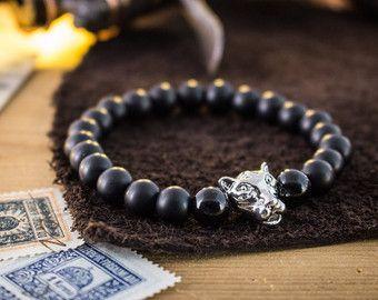 8mm - mates del onyx de cuentas leopardo cabeza elástica Pulsera de plata, pulsera de cuentas yoga hecho personalizado, pulsera para mujer, pulsera para hombre