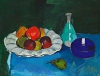 Still-life with fruits on a dish by Olaf Rude