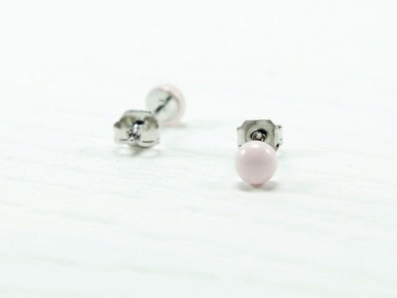 Baby Pink Stud Earrings 4mm  Tiny Stud Earrings  Tiny by biesge, http://www.biesge.etsy.com/ #earrings #studearrings #studs #earstuds #brightearrings #brightstuds #dotearrings #dotstuds #tinyearrings #tinystuds #jewelry #fashion #accessories