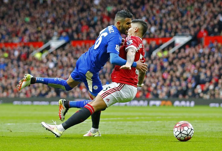 Man Utd v Leicester: Riyad Mahrez fouled by Marcos Rojo in the...: Man Utd v… #Chelsea #LeicesterCityVsManchesterUnited #ManchesterUnited