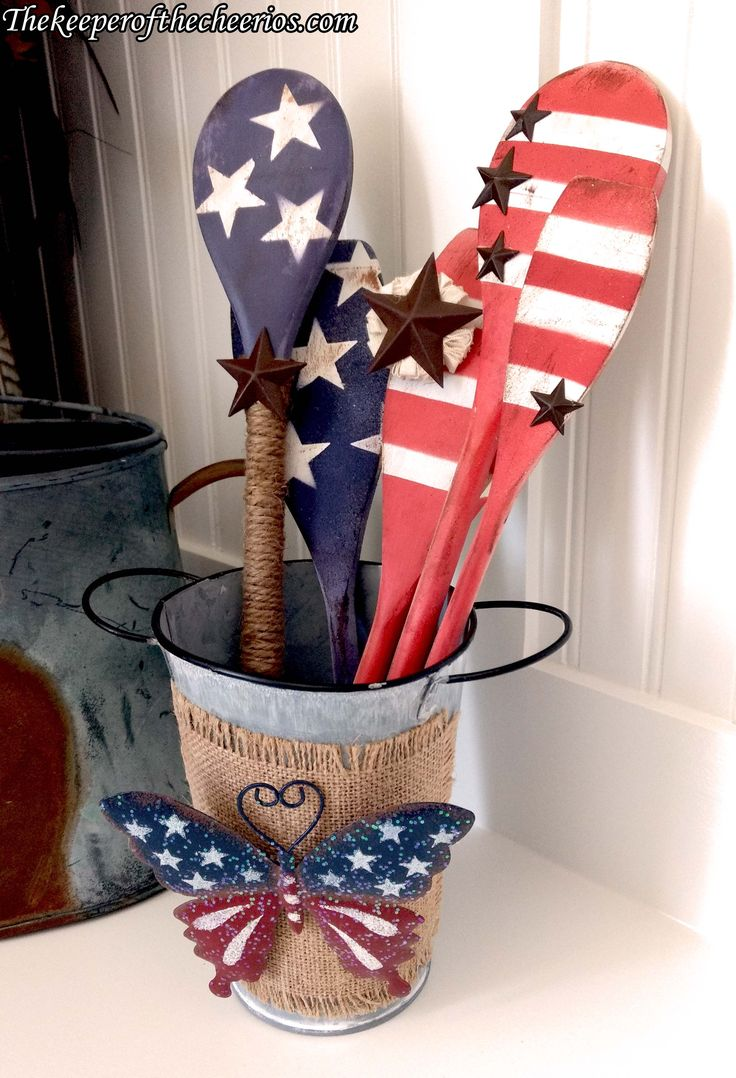 Patriotic Wooden Spoons Decor