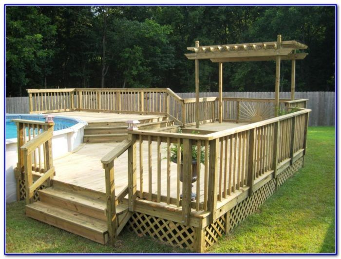 24 Round Above Ground Pool Deck Plans Pool Deck Plans Swimming Pool Decks Backyard Pool Landscaping