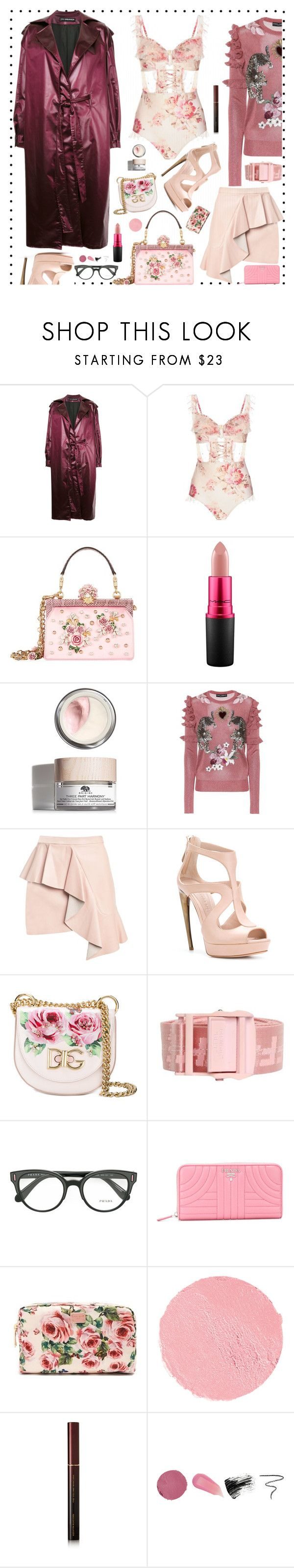 """""""Turn up the Volume..."""" by sue-mes on Polyvore featuring Nino Babukhadia, Zimmermann, Dolce&Gabbana, MAC Cosmetics, Origins, Alexander McQueen, Off-White, Prada, Marc Jacobs and Kevyn Aucoin"""