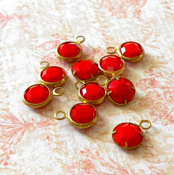 Vintage Opaque Cherry Red Swarovski Crystal and by TheLostAreFound, $6.50