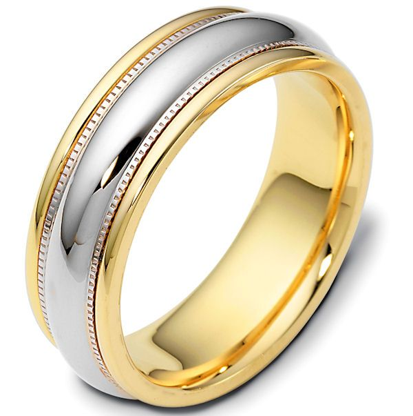 14 Kt Gold Two Tone Comfort Fit Wedding Band 70 Mm Wide The