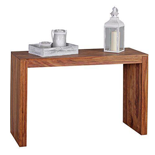 WOHNLING Konsolentisch Massivholz Sheesham Schreibtisch 115 X Landhaus Stil  Arbeitstisch Modern Ess Küchen Tisch Massiv Dunkel Braun Echt Holz Natur ...