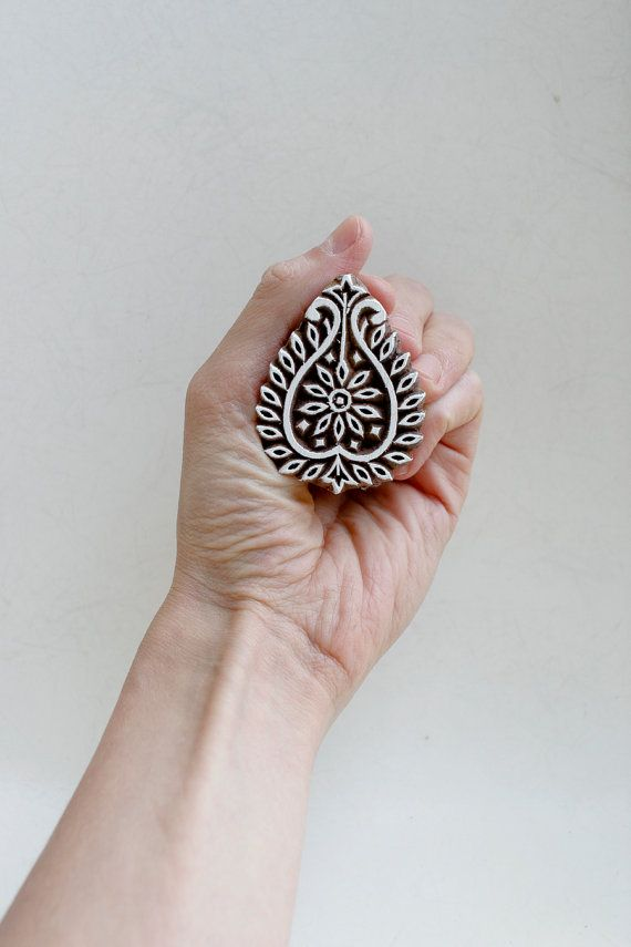 SALE  Hand Carved Indian Wood Block Stamp by TATAindianwoodstamps, $8.50