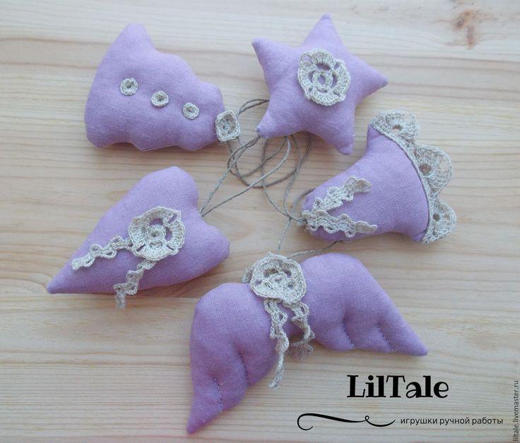Купить Текстильные елочные игрушки в эко-стиле - елочные игрушки, елочные украшения, декор для интерьера