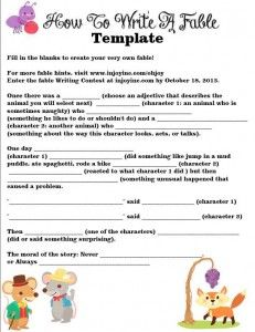How to Write a Fable -- free #printable fable writing template.