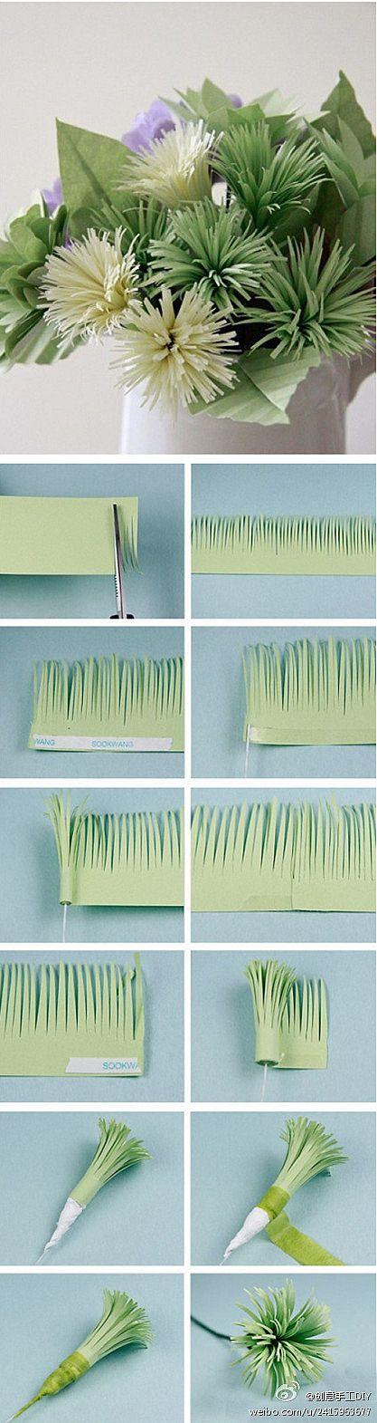 Fringe-scissors to make a pretty paper flower {Tutorial}