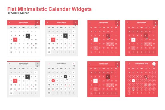 """Flat Minimalistic Calendar Widgets ~~ Minimalistic and trendy calendar widgets for your blog, website or any other graphic. Pack contains four different calendar widgets, every one with gray and full color background.     Editing the color is very easy. Just locate layer named """"Change color here…"""