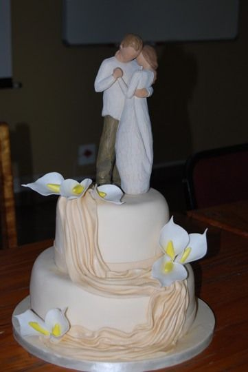 Draped Cake with Sugar Lillies and Willow Tree Topper