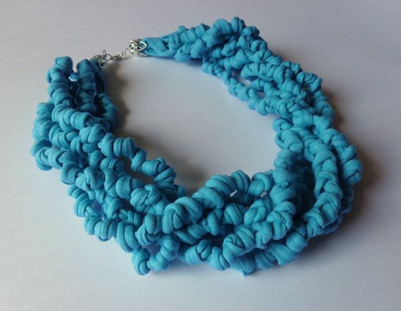 Hey, I found this really awesome Etsy listing at https://www.etsy.com/listing/193442117/tiffany-blue-fabric-necklace