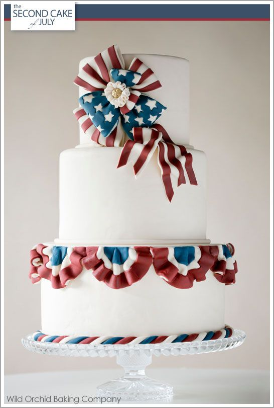 The best 4th of July Cake I've ever seen:  Vintage Patriotic Bunting Cake by Wild Orchid :: TheCakeBlog.com