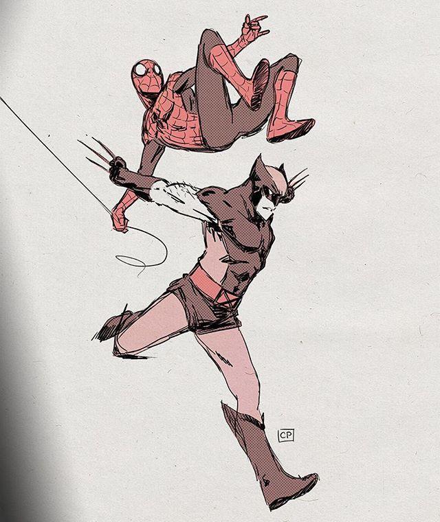 "Chris Palmer- Wolverine and Spider-Man. ""Jump, on the count of 3. #wolverine #spiderman #xmen"