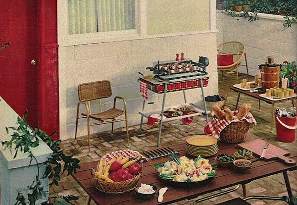 Vintage Retro Mid-Century Outdoor Space Barbecue Entertaining