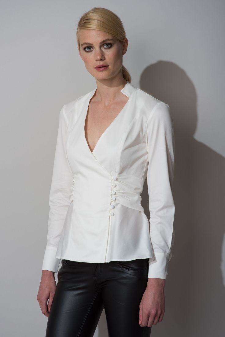 Fitted X-Over Shirt with Belt - Ivory Additional Image 4