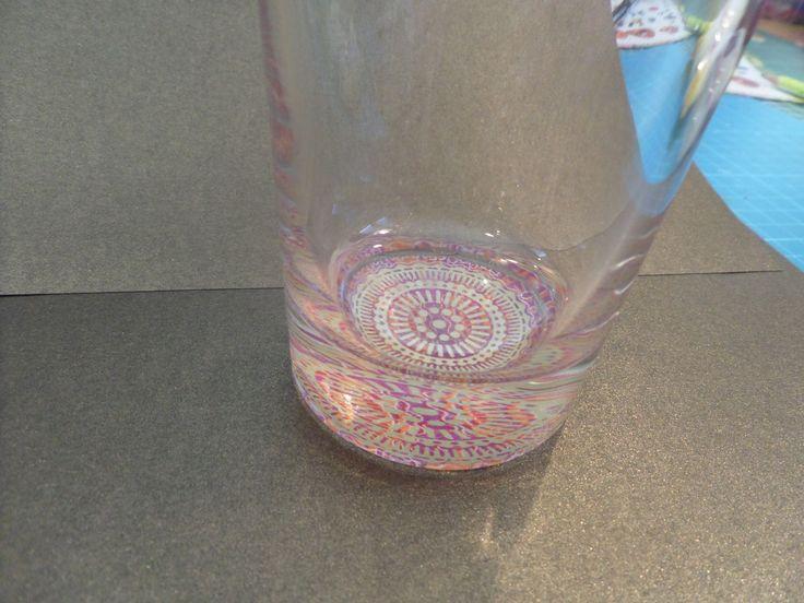 Fond de verre avec la technique Decopatch.