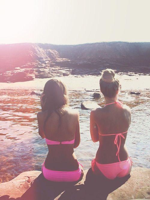 : Neon Bikinis, Pink Summer, Best Friends, Pink Bikinis, Friends Pics, Hot Pink, Summertime, Bright Colors, Summer Time