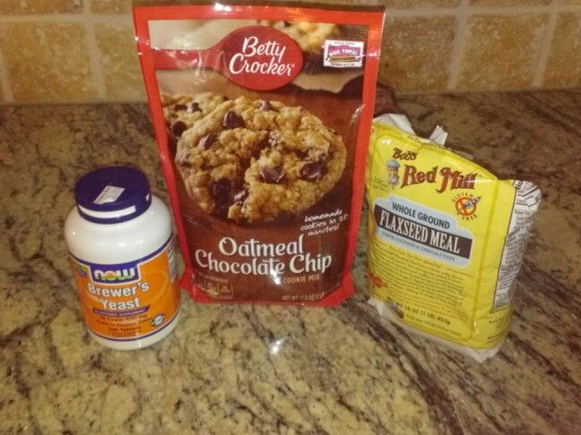 Lactation Cookies easy (add 4tbs of  brewer's yeast after using a food processor, mix 4tbs of flaxseed meal plus 4tbs water mix and let sit for 5 mims, 1 extra egg) make package as directed and then combine all ingredients together. Bake according to package.