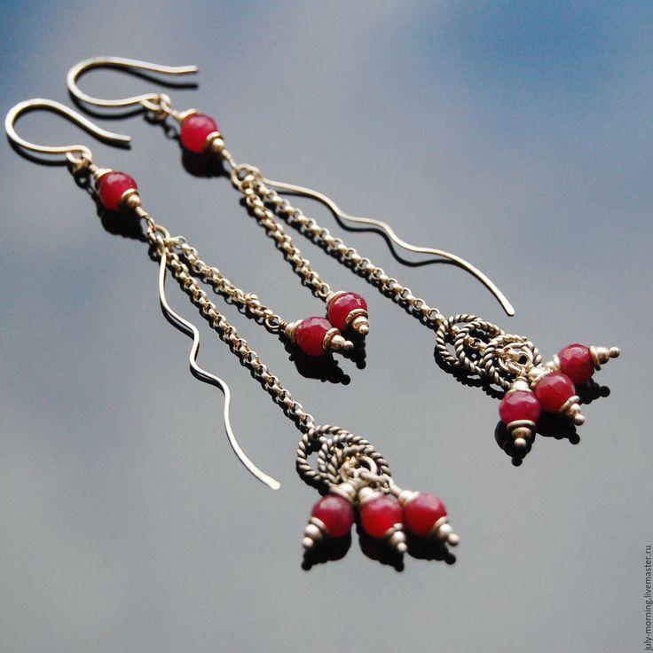 Купить COTES-de-PROVENCE серьги (рубины, серебро 925) - бордовый, рубиновые серьги, прованс
