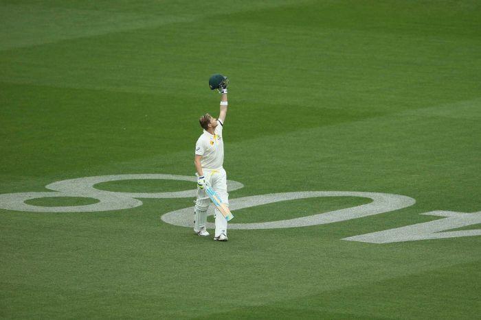 Steve Smith celebrates his century against India
