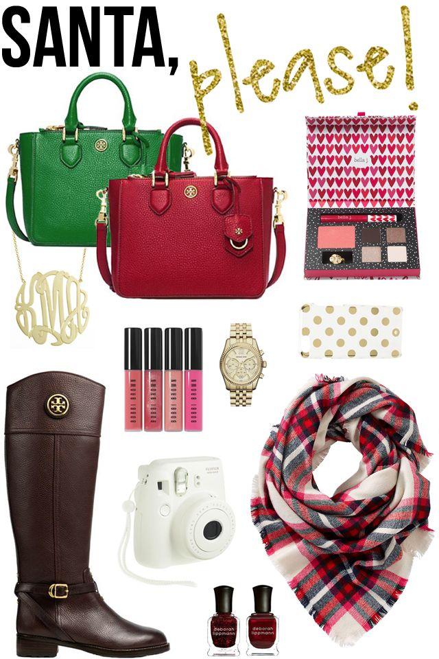 Tory Burch small handbag (comes in five colors!) // bella makeup kit // gold monogram...
