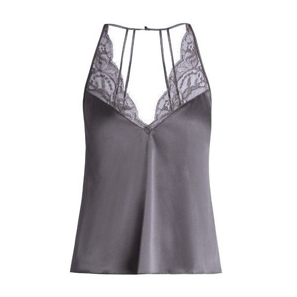 Fleur of England Eclipse silk-blend satin cami top (19745 RSD) ❤ liked on Polyvore featuring tops, grey, strappy tank top, satin camisole tops, cami tank, floral tops and satin camisole