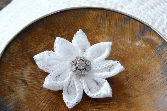 Vintage white lace kanzashi flower with a Swarovksi by ImwtheBand