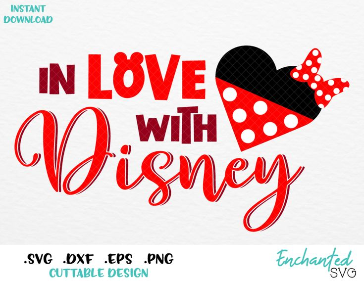 Download In Love with Disney Minnie Heart Inspired SVG, EPS, DXF ...