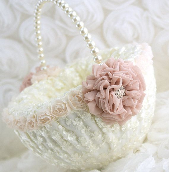 Flower Girl Basket Ivory Cream Blush Lace Flower Basket Wedding Bridal