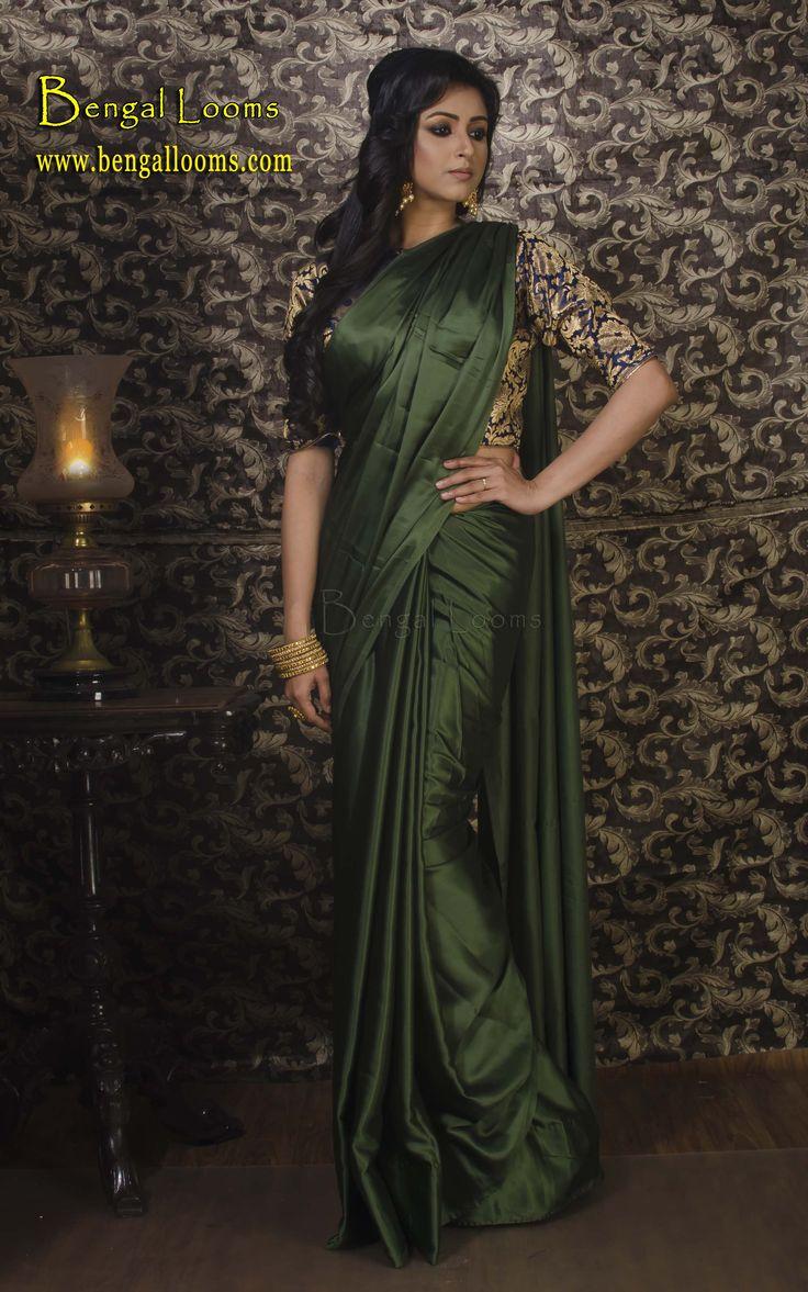 Satin Silk Sari in Dark Green