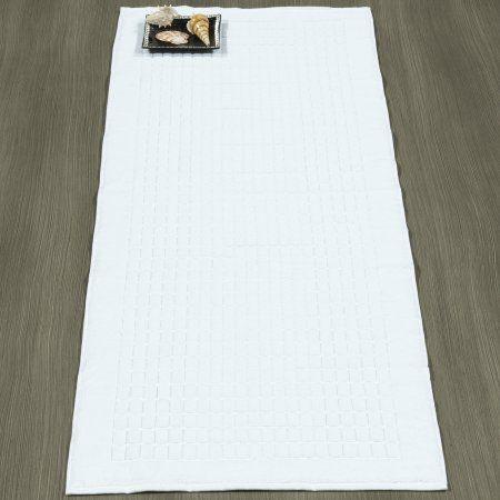 Ottomanson Heavyweight Cotton Towel Bath Tub Mat Runner, 20 inch x 59 inch, Turkish Cotton, White